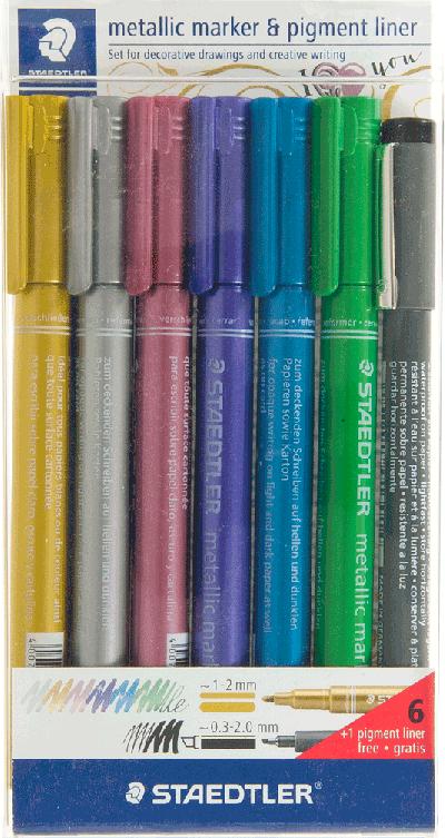 Staedtler metallic marker set 6 kleuren + pigment liner