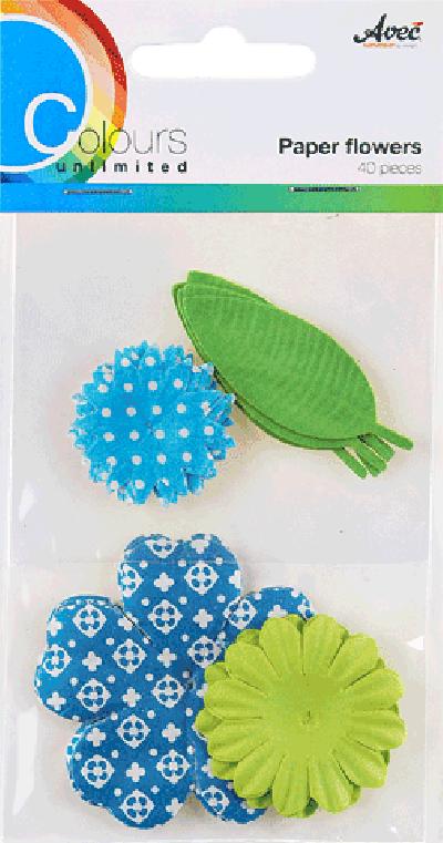 CU13 Papieren Bloemen Blauw-Groen