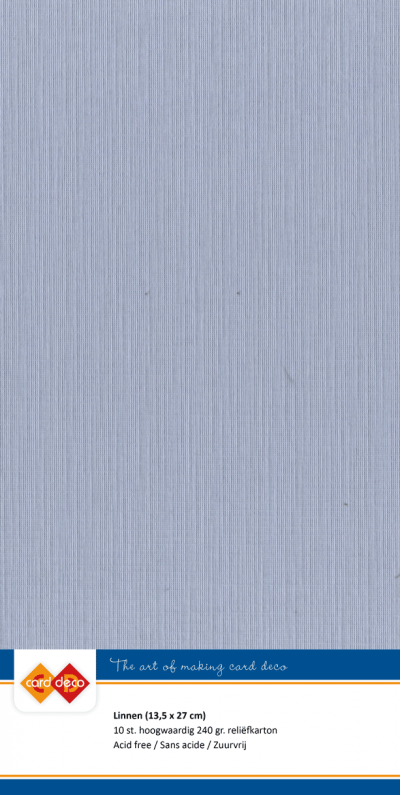 Linnenkarton 13,5x27 - 50 blauw vintage