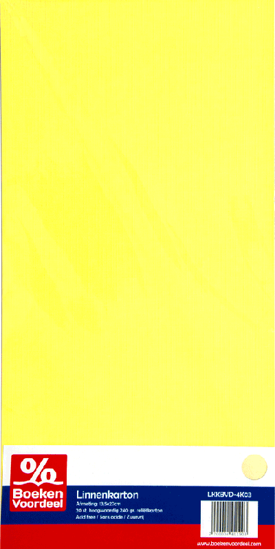 Linnenkarton 13,5 x 27 cm - Lichtgeel (03)