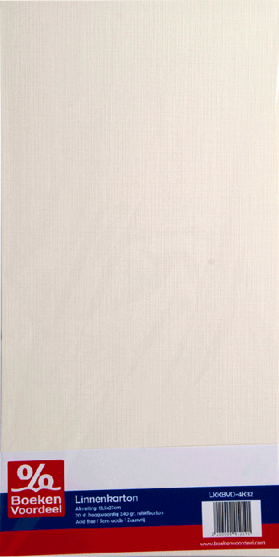 Linnenkarton 13,5 x 27cm - 32 gebroken wit