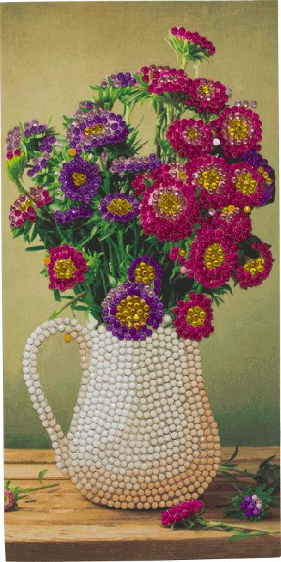 Crystal Card kit C8 bloemen vaas 11x22cm
