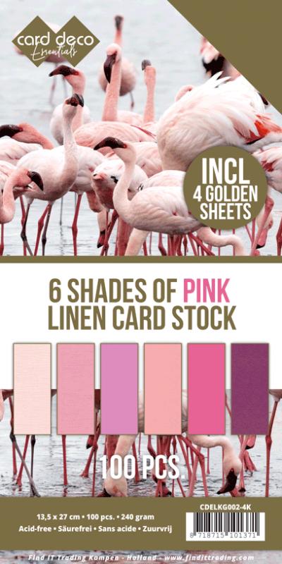 Linnenkarton 6 kleuren roze 100vel