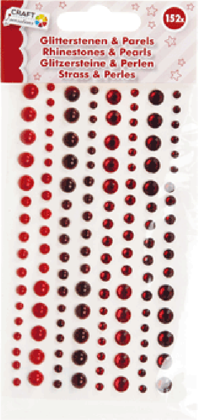 Plakparels Glitterstenen Rood