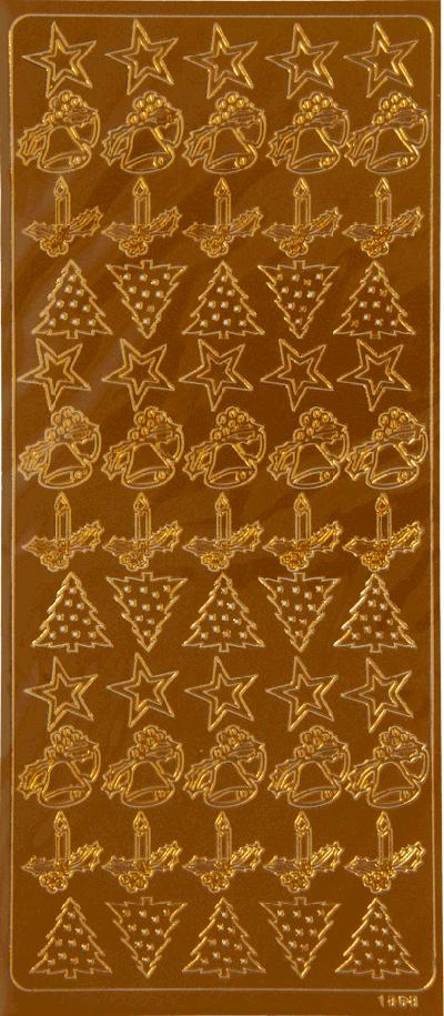 Stickervel sterren bomen kaarsen koper