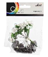 CU13 Papieren roosjes zwart-wit