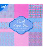 Joy Papierblok 15x15 floral Roze Blauw