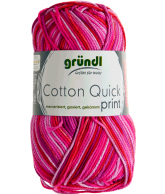 Cotton quick print fuchsia-rood multicolor 50 gram