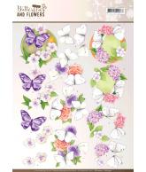 Jeanine's art 3D knipvellen set pink and purple flowers classic butterflies and flowers