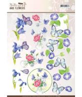 Jeanine's art 3D knipvellen set yellow and blue flowers classic butterflies and flowers