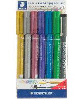 Staedtler metallic marker set 5 kleuren + pigment liner