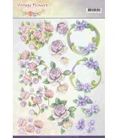 JA Vintage flowers knipvel 2st romantic purple en romantic v