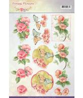 JA Vintage flowers knipvel 2st sweetheart pink en sweetheart