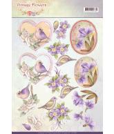 JA Vintage flowers knipvel 2st pale violet en pale vintage