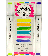 Fluorescent - Box 6 water based dual tip markers bright