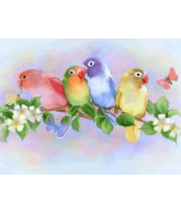 Diamond painting lovebirds 40x30cm