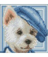 Diamond painting hond met pet 15x15cm