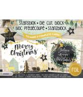 Stansblok A5 bright christmas 6 kaarten met folie opdruk