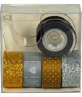 Washi tape (5 rollen a 1mtr) met houder