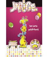 Kaart Hartelijk Gefeliciteerd Giraffe , luxe wenskaart met 3D effect