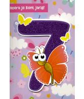Kaart Hoera jij bent jarig 7 jaar, luxe uitgestanste kaart met glitter