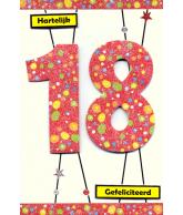 Kaart Jarig 18 jaar Luxe uitgestanste kaart met glitter