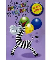 Kaart Jarig zebra met folie en button