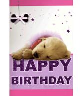 Kaart Happy birthday puppy Luxe 3D wenskaart met glitter en folie