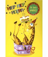 Kaart Hiep, hiep hoera giraffe met folie en button