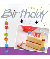 Kaart Happy Birthday To You Cake, luxe wenskaart met glitter en folie
