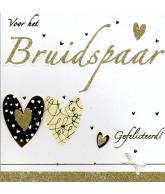 Kaart Voor het Bruidspaar Gefeliciteerd! Hartjes en strik, luxe wenskaart met glitter en strik
