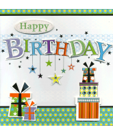 Kaart Happy Birthday Cadeautjes, luxe uitgestanste kaart met sterren en glitter