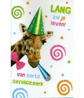 Kaart Van Harte Gefeliciteerd Lang zal je leven! Giraffe, luxe 3D wenskaart met glitter