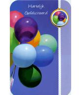 Kaart Hartelijk Gefeliciteerd Ballonnen, 3D wenskaart met glitter