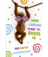 Kaart Van Harte Gefeliciteerd Hang vandaag maar de beest uit, luxe 3D wenskaart met glitter