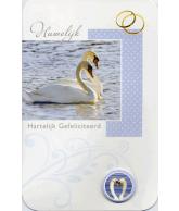 Kaart Hartelijk Gefeliciteerd Huwelijk 2 Zwanen, luxe 3D wenskaart met glitter