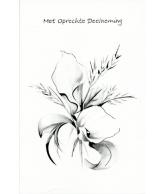 Kaart Met Oprechte Deelneming Zwart Wit, luxe wenskaart met zilver effect