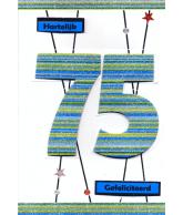 Kaart Hartelijk Gefeliciteerd 75 jaar, luxe uitgestanste kaart met glitter
