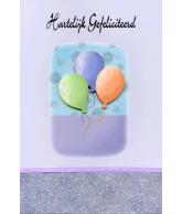 Kaart Hartelijk Gefeliciteerd 3 Ballonnen Paars, luxe kaart met lint en glitter