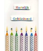 Kaart Hartelijk Gefeliciteerd Kaarsen, uitgestanste kaart met glitter