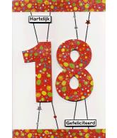 Kaart Hartelijk Gefeliciteerd 18 Luxe uitgestanste kaart met glitter en folie