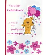 Kaart Hartelijk Gefeliciteerd Ik wens je een gezellige, luxe uitgestanste kaart met glitter en folie