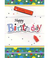 Kaart Wishing a very Happy Birthday to you Luxe uitgestanste kaart met glitter en folie