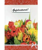 Kaart Gefeliciteerd! Tulpen, luxe uitgestanste kaart met lint en strik