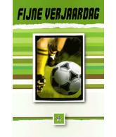 Kaart Fijne Verjaardag Voetbal, uitgestanste kaart met folie