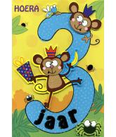 Kaart Hoera 3 jaar 2 apen, luxe uitgestanste kaart met glitter en folie
