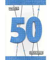 Kaart Hartelijk Gefeliciteerd 50, luxe uitgestanste kaart met glitter en folie