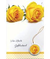Kaart Van Harte Gefeliciteerd Gele Roos, wenskaart met glitter