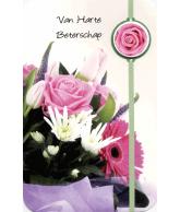 Kaart Van Harte Beterschap Bosje Bloemen Roze/Paars, wenskaart met glitter