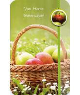 Kaart Van Harte Beterschap Picknickmand met appels, wenskaart met glitter